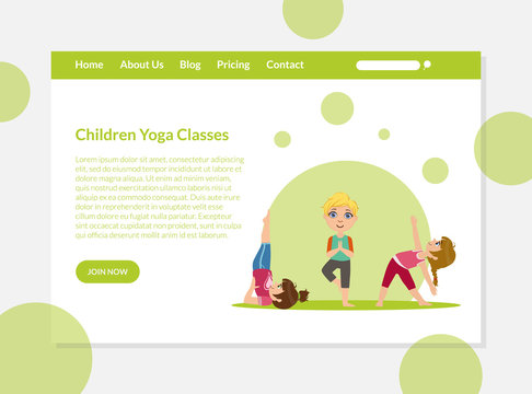 Children Yoga Classes Banners Template, Boys and Girls Practicing Asana Poses, Kids Yoga Advertising Landing Pages Vector Illustration