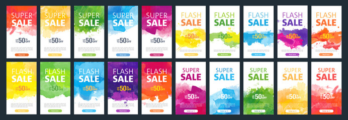 Watercolor background sale mobile banners design template set for social media marketing Wall mural
