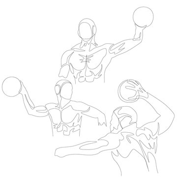 Continuous one line water polo player set. Summer Olympic Games. Vector