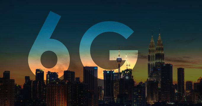 6G text on Kuala Lumpur Malaysia background.