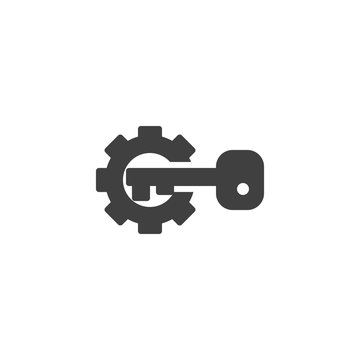 Gear and key vector icon. filled flat sign for mobile concept and web design. Activation configuration glyph icon. Symbol, logo illustration. Vector graphics