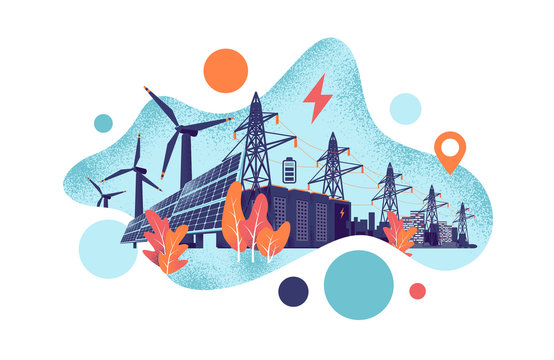 Renewable energy smart power grid system concept. Modern grain style vector illustration solar panels, wind turbines, battery storage, high voltage electricity power transmission grid and clean city.