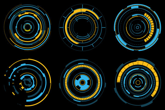 Set of futuristic radial graphic elements. Neon blue and yellow HUD. Circle Head-up display for web and app. Futuristic user interface. Template UI for web, app, virtual reality. Vector illustration