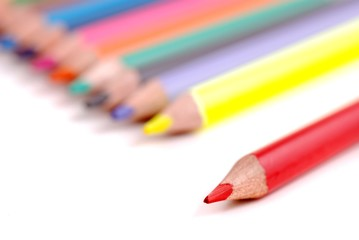Color pencils isolated on white background. Copy space for text.