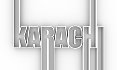 Karachi city name in geometry style design. Creative vintage typography poster concept. 3D rendering Fototapete