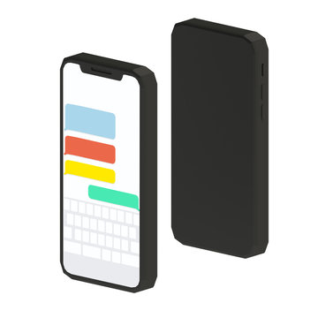 One Smart Phone Messaging another Smartphone with Different Colored Messages on Isolated White Background. 3d illustration