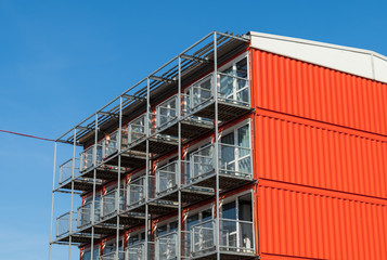 Pile of container homes for students in the city of Groningen, Holland.