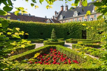 Hidden renaissance style park 'Prinsentuin' in the inner city of Groningen, the Netherlands.