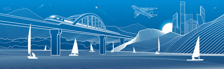 Wall Mural - Outline illustration. View from river to night city in mountains. Yachts on water. Train travels along railway bridge. White lines on blue background. Vector design town panorama