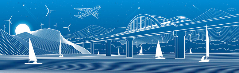 Fototapete - Outline illustration. View from river to night city. Windmills in mountains. Yachts on water. Train travels along railway bridge. White lines on blue background. Vector design town panorama