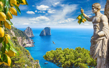 Collage with attractions of Capri Island, Italy