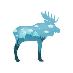 Silhouette moose. Inside the forest and mountains with snow on the tops against the background of the night sky. Vector illustration on white background.