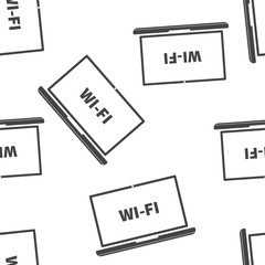 Wi-Fi vector icon. Wi-Fi on computer illustration seamless pattern on a white background.
