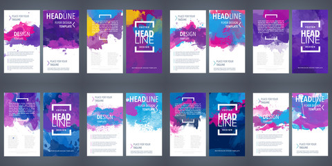 Fotobehang - PrintBrochure template layout, flyer cover design with watercolor background.