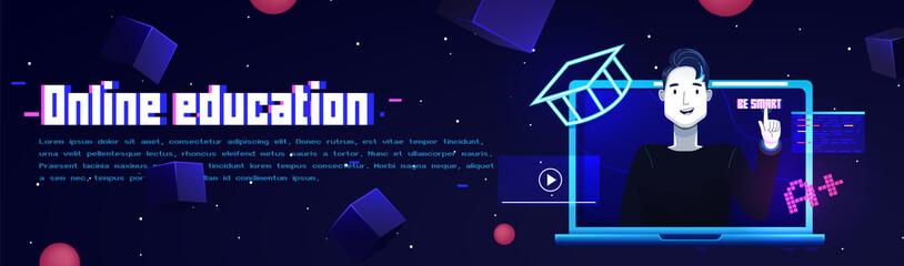 Online education banner. Website template
