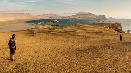 Coast of Paracas in Peru during the sunset