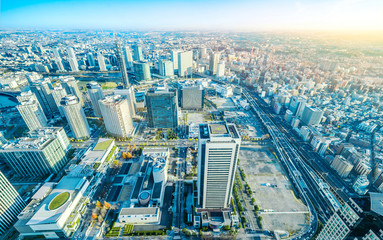Wall Mural - modern city skyline aerial view in Yokohama, Japan