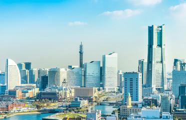 Fototapete - modern city skyline aerial view in Yokohama, Japan
