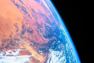 Majestic Planet Earth from Space. The image is a public domain hand out by NASA. The contributor has digitally enhanced the color scene