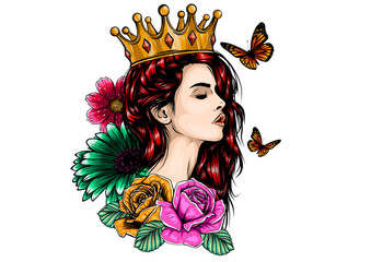 Beautiful girl in crown. Girl with long hair. Vector illustration for a postcard or a poster, print for clothes. Fototapete