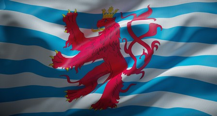 Luxembourgish official flag with Lion. Civil Ensign of Luxembourg.