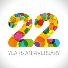 22 nd anniversary numbers. 22 years old multicolored logotype. Age congrats, congratulation art idea. Isolated abstract graphic design template. Coloured digits up to -22% percent off discount.