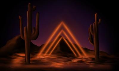 Garden Poster Brown Illustration of night landscape, desert, cactus, night view of the mountains, neon light, sunset.