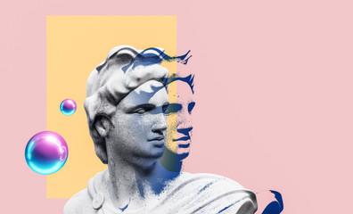 Estores personalizados con tu foto Apollo style design background vaporwave concept. 3d Rendering.