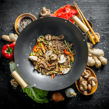 Ingredients for making delicious soba wok noodles.