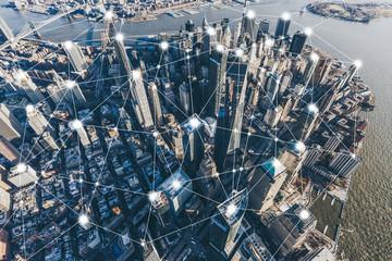 Blockchain Concept and City Network of Manhattan