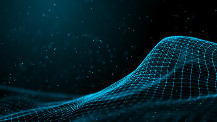 Wave with many dots. Network of bright particles connected by lines. Abstract digital background. 3d rendering. Wall mural