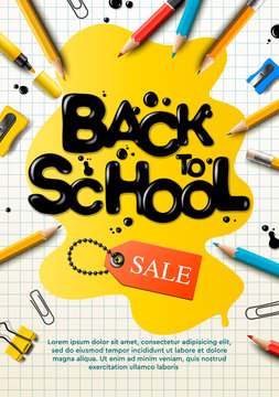 Back to school sale poster and banner with colorful pencils and elements for retail marketing promotion and education related. Vector illustration.