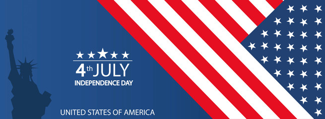 Modern vector illustration of USA Independence Day..Celebration of Fourth of July in United States of America..Background for greeting cards, banners, posters