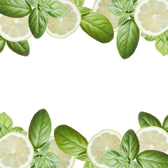 Wall Mural - Beautiful background of lemon and green basil. Isolated