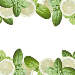 Fototapete - Beautiful background of lemon and green basil. Isolated