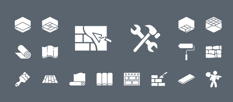 Construction icons set - Vector web badges on the topic of repair