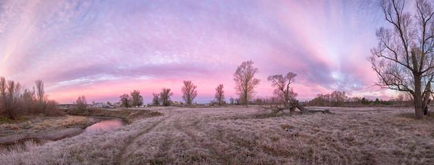 Aluminium Prints Purple Landscape with sunset