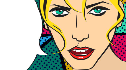 Vector pop art illustration of a fair hair girl and speaking bubble