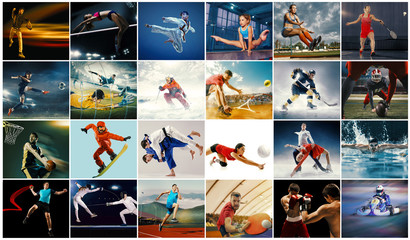 Creative collage made of photos of 26 models. Tennis, running, badminton, swimming, basketball,...