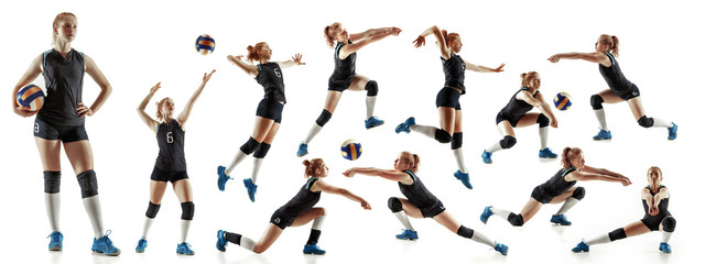 Young female volleyball player isolated on white studio background. Woman in sport's equipment and shoes or sneakers training and practicing. Concept of sport, healthy lifestyle, motion and movement. Wall mural