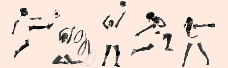 Young female sportswomen, creative collage. Women in sport's equipment and shoes or sneakers training and practicing. Concept of sport, healthy lifestyle, motion and movement, women's rights. Wall mural
