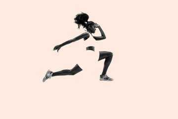 Young african woman running. Creative collage. One female runner or jogger. Silhouette of jogging athlete. Concept of sport, healthy lifestyle, motion, action and movement, female strenght. Wall mural