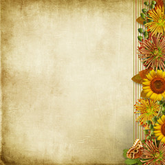 Grunge background with a border of beautiful  flowers