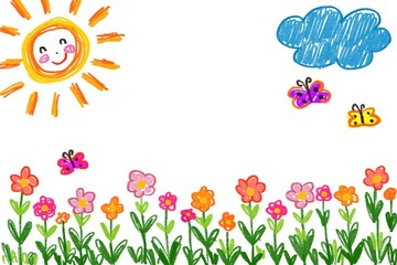 Children painting flowers, sun, clouds, butterflies