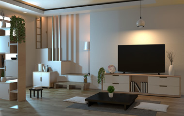 interior living room zen style with smart tv and decoration style japanese. 3D rendering