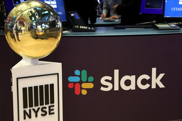 The Slack Technologies Inc. logo is seen during the company's IPO at the New York Stock Exchange in New York
