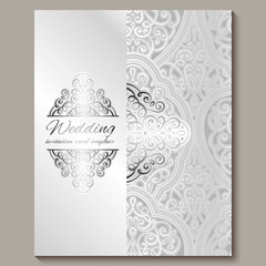 Wedding invitation card with silver shiny eastern and baroque rich foliage. Intricate Ornate islamic background for your design. Islam, Arabic, Indian, Dubai.