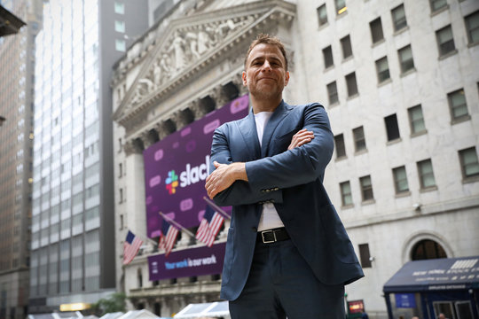 Slack Technologies Inc. CEO Stewart Butterfield outside the New York Stock Exchange (NYSE) during thew company's IPO in New York