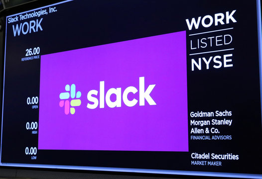 The Slack Technologies Inc. logo is seen on a display at New York Stock Exchange (NYSE) during the company's IPO in New York