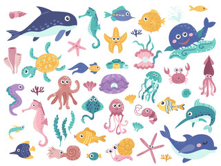 Big set of cute marine inhabitants.